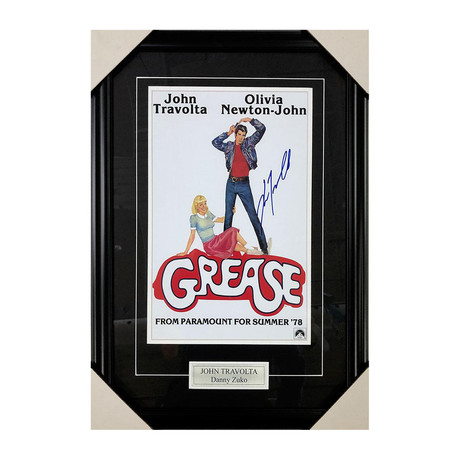 John Travolta // Autographed Movie Poster Display // Grease