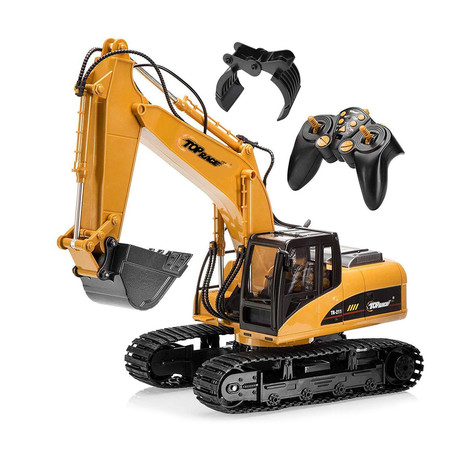 15 Channel Full Functional Remote Control Excavator Construction Tractor + 2 Shovel Attachments