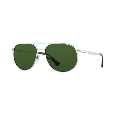 Men's Rectangle Navigator Sunglasses // Silver + Blue Gray