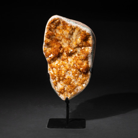 Genuine Polished Citrine Crystal Cluster + Metal Stand