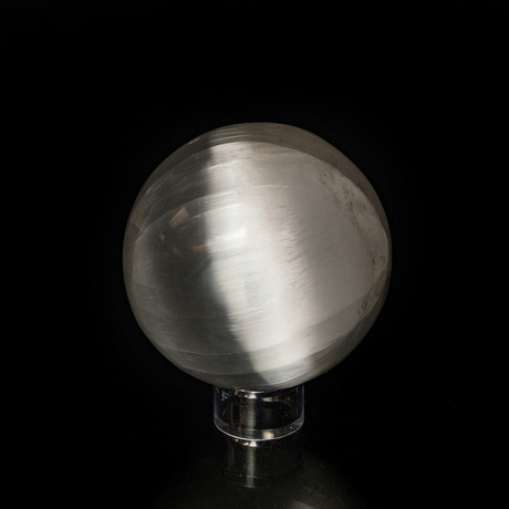 Genuine Natural Cats Eye Selenite Sphere // Large