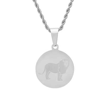 Round Lion Pendant Necklace (Metallic)