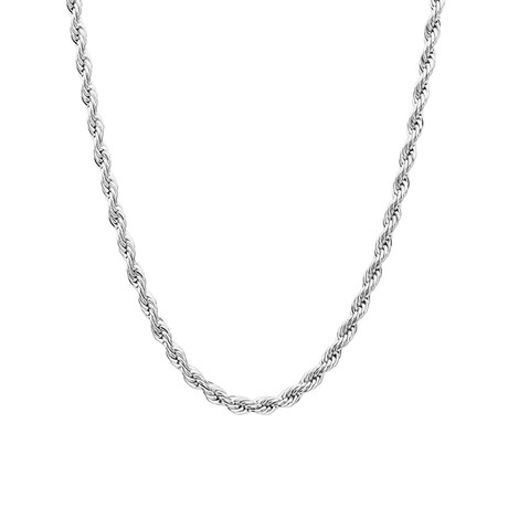 Stainless Steel Rope Chain Necklace // Metallic