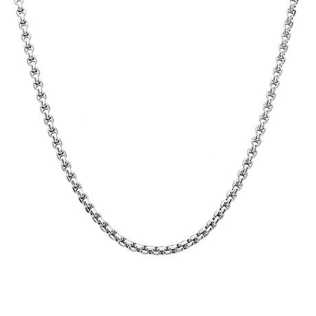 Stainless Steel Round Box Chain Necklace // Metallic