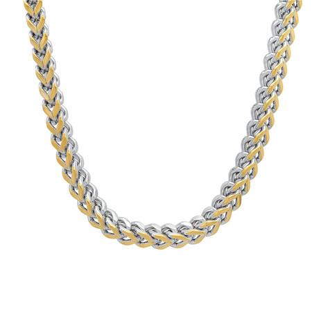 Two-Tone Wheat Link Necklace // Metallic + Yellow