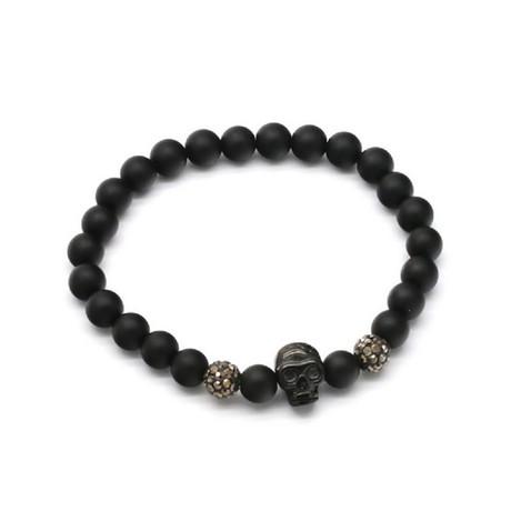 Beaded Skull Bracelet // Black + Gray