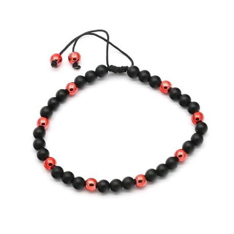 Lava + Stainless Steel Drawstring Bracelet (Black + Blue)