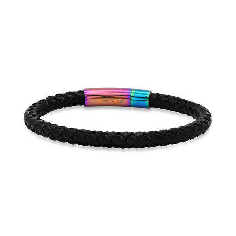 Braided Leather + Stainless Steel Bracelet (Brown + Yellow)