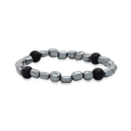 Uneven Hematite + Lava Beaded Stretch Bracelet // Gray + Black