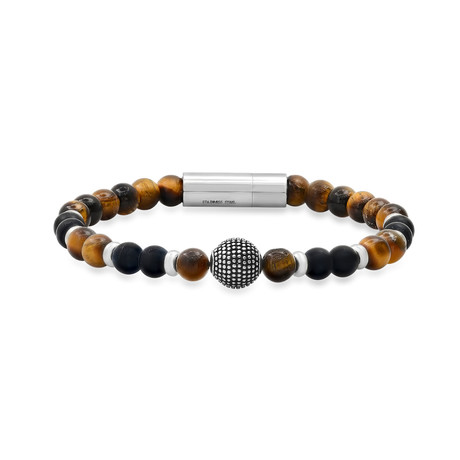 Tiger Eye + Lava + Stainless Steel Fireball Bracelet // Metallic + Brown
