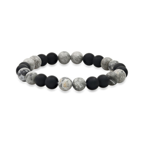 Lava + Agate Beaded Stretch Bracelet // Black + Gray