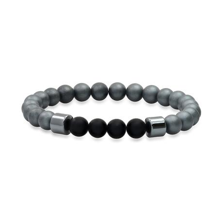 Round Hematite + Lava Beaded Stretch Bracelet // Gray + Black