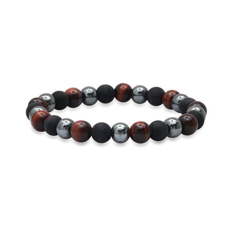 Lava + Hematite + Tiger Eye Beaded Bracelet // Gray + Red + Black