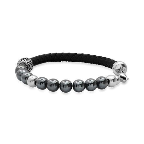 Braided Leather + Hematite + Stainless Steel Bracelet // Black + Gray + Metallic