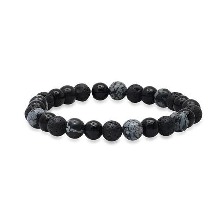 Lava + Agate Beaded Bracelet // Black + Gray