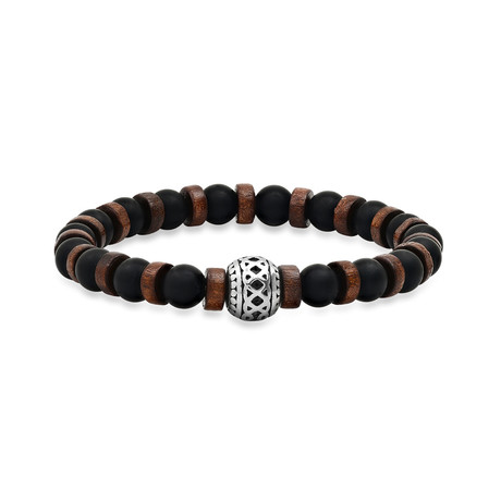 Lava + Wood + Stainless Steel Charm Beaded Bracelet // Brown + Black