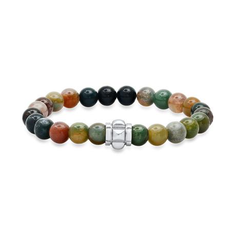 Agate + Stainless Steel Charm Beaded Bracelet // Green + Metallic + Orange