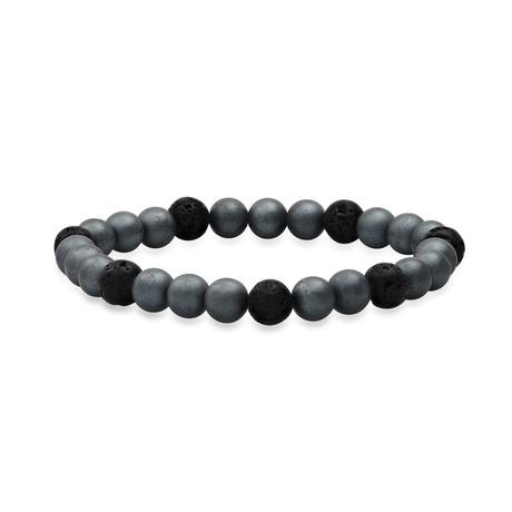 Hematite + Lava Beaded Stretch Bracelet // Gray + Black