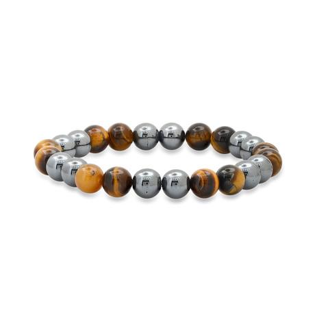 Tiger Eye + Hematite Beaded Bracelet // Brown + Gray