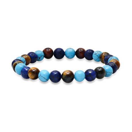 Tiger Eye + Lapis + Agate Beaded Bracelet // Turquoise + Brown + Blue