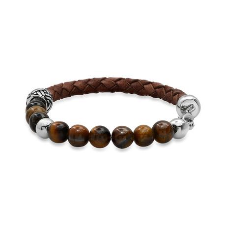 Braided Leather + Tiger Eye + Stainless Steel Charm Bracelet // Brown + Metallic