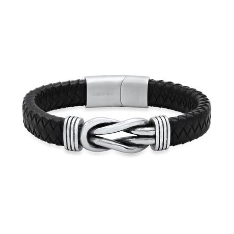 Braided Leather + Stainless Steel Nautical Knot Bracelet // Black + Metallic