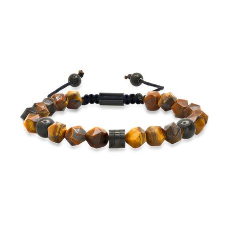 Beaded Tiger Eye Bracelet // Brown + Black