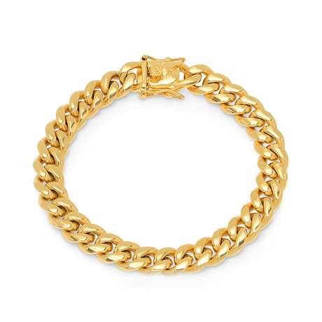 18K Gold Plated Miami Cuban Chain Link Bracelet // Yellow