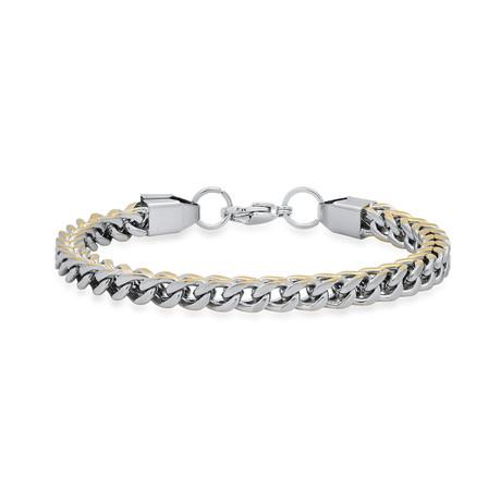 Two-Tone Wheat Link Bracelet // Metallic + Yellow