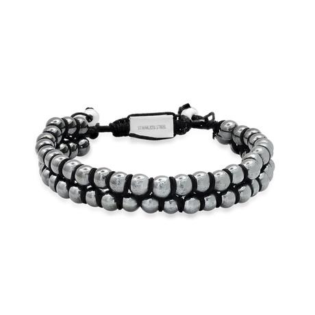 Double Layered Hematite Beaded Bracelet // Gray + Black