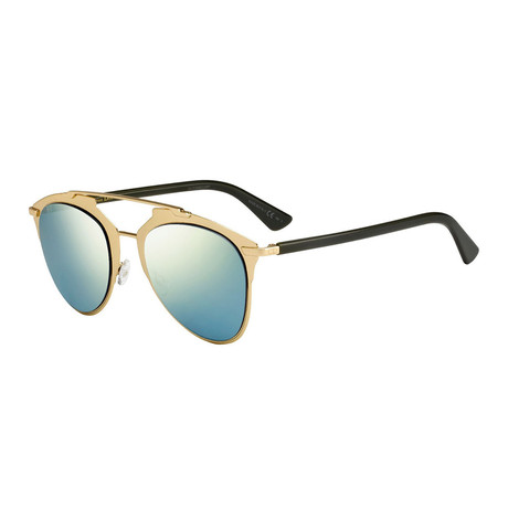 Women's Reflected Sunglasses // Gold + Black + Blue
