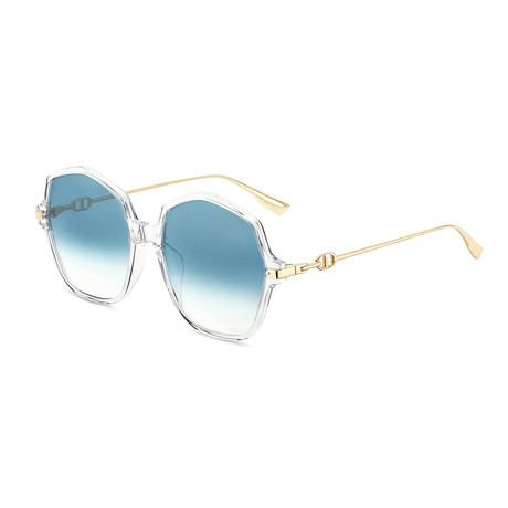 Women's Link Sunglasses // Crystal + Gold + Blue