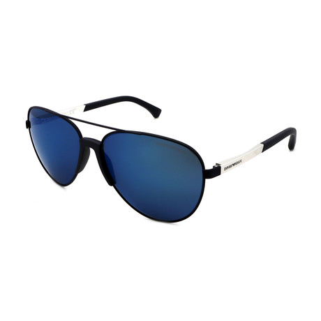 Emporio Armani // Men's EA2059F-320255 Aviator Sunglasses // Blue + Blue Mirror