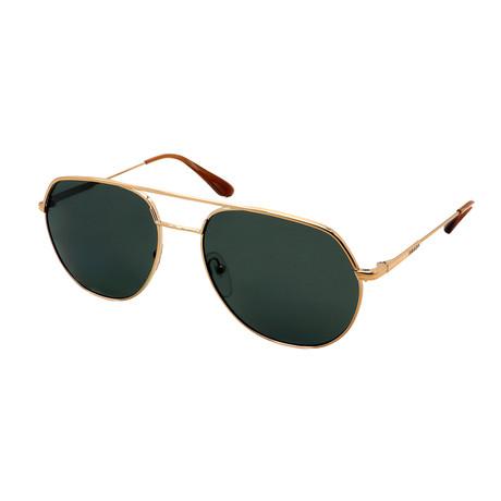 Men's PR55US-ZVN198 Aviators Polarized Sunglasses // Gold + Green