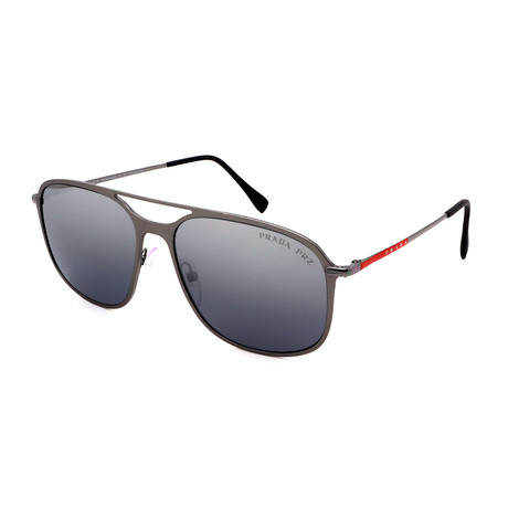 Prada // Men's PS53TS-7CQ2F2 Pilot Polarized Sunglasses // Metal Gray + Gray Mirror