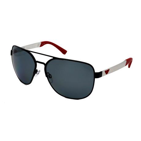 Emporio Armani // Men's EA2064-322381 Aviator Polarized Sunglasses // Black Silver + Gray