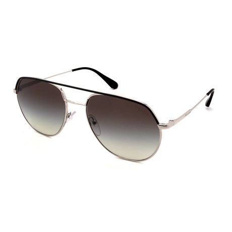 Prada // Men's PR55US-329500 Aviators Sunglasses // Matte Gunmetal + Gray Gradient Mirror