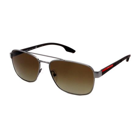 Prada // Men's PS51US-5AV1X1 Aviator Sunglasses // Gunmetal + Brown Gradient