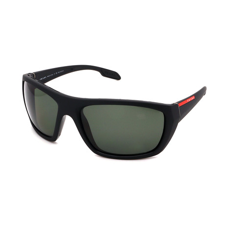 Prada // Men's PS06SS-1BO5X161 Rectangle Polarized Sunglasses // Black + Green