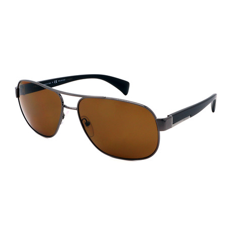 Prada // Men's PR52PS-5AV5Y161 Pilot Polarized Sunglasses // Gunmetal + Brown
