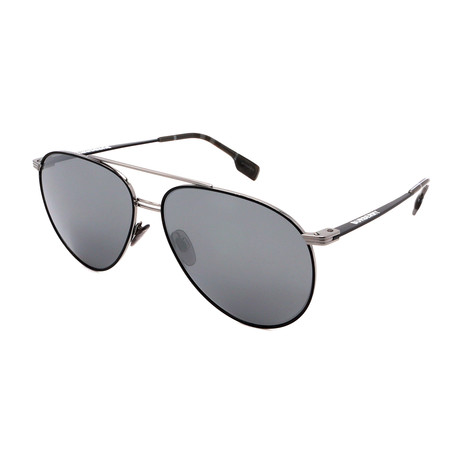 Burberry // Men's BB3108-12956G Aviator Sunglasses // Gunmetal + Gray
