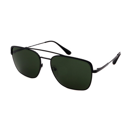 Prada // Men's PR53VS-1AB1I0 Pilot Sunglasses // Black + Green
