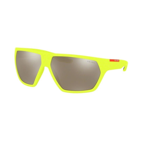 Men's Linea Rossa PS08US-4461C067 Sunglasses // Fluorescent Yellow Rubber + Silver Mirror
