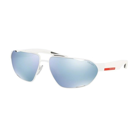 Men's Linea Rossa PS56US-TWK5K266 Sunglasses // White Rubber + Green Mirror