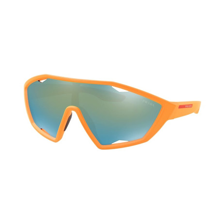 Men's Linea Rossa PS10US-4484J230 Sunglasses // Fluorescent Orange Rubber + Dark Violet Gray Emerald Iridium