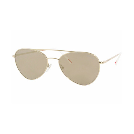 Men's Linea Rossa PS50SS-ZVN1C057 Sunglasses // Pale Gold + Light Brown Mirror