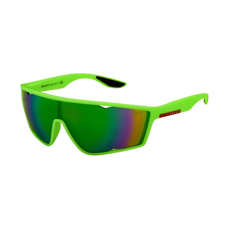 Men's Linea Rossa PS09US-4471M240 Sunglasses // Fluorescent Green Rubber + Gray Mirror green