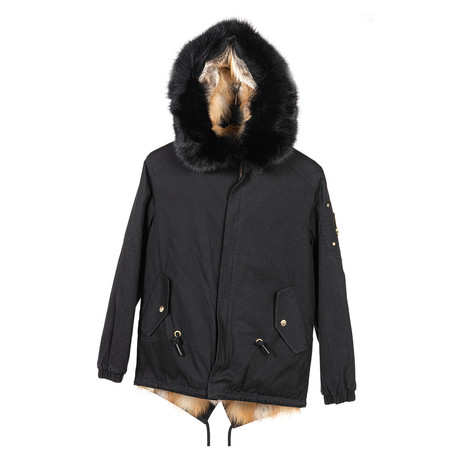 Women's Saint Fabien Anorak Jacket // Black + Camel (XS)