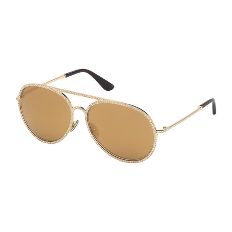 Unisex Antibes Sunglasses // Gold + Brown