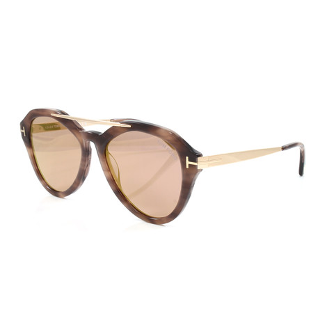 Women's FT0576S Lisa Sunglasses // Striped Brown + Gold